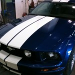 Minor Auto Body Repair on Blue Mustang