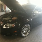 Repaired Black Audi with Hood Open