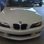 Repaired Hood on White BMW