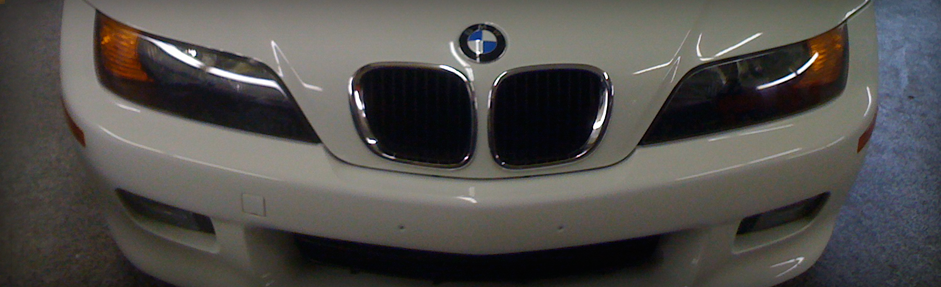 Repaired White BMW Hood